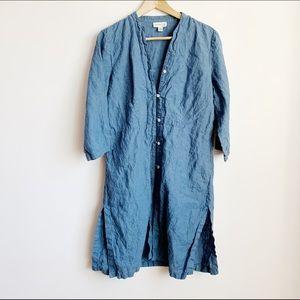 blue linen tunic style 3/4 sleeve shirtdress